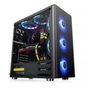 Кутия Thermaltake V200 TG RGB Edition, ATX/mATX/miniITX, 1x USB 3.0, страничен прозорец от закалено стъкло, черна, без захранване, RGB програмируема подсветка