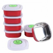 Rident Kitchen Stainless Steel Microwave Safe Square Bowl with LID (RED Color 350 ml)-Set of 6