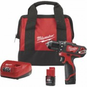 Milwaukee M12 Lithium-Ion Cordless Electric Drill/Driver Kit With 2 Batteries - 3/8Inch Keyless Chuck, 1500 RPM, Model 2407-22