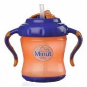 Cana Minut Baby cu pai si manere 6+ 250 ml portocaliu cu indigo