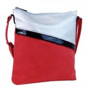 Červeno-stříbrná dámská crossbody kabelka se šikmými zipy H16183