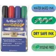 Flipchart marker ARTLINE 370 - Dry safe ink corp plastic varf rotund 2.0mm 4 culori-set