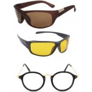 Rich Club Sports, Round, Sports Sunglasses(Yellow, Brown, Clear)