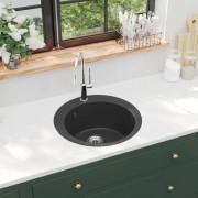 vidaXL Lava-louça com 1 cuba granito redondo preto