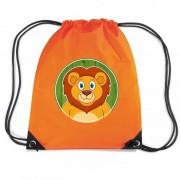 Bellatio Decorations Leeuw dieren trekkoord rugzak / gymtas oranje voor kinderen