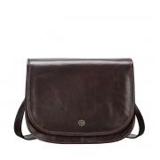 Klassische Leder Umhängetasche in Dunkelbraun - Aktentasche, Dokumententasche, Schultertasche