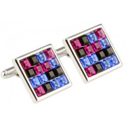 Mousie Bean Crystal Cufflinks Multi Square 096 Multicolor