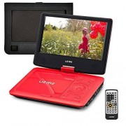 """UEME 9"""" Portable DVD Player CD Player with Car Headrest Mount Holder Swivel Screen Remote Control Rechargeable Battery AC Adapter Car Charger, Personal DVD Player (Red)"""