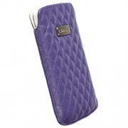 Krusell Avenyn Mobile Pouch 3XL - кожен калъф за Samsung Galaxy S3, S3 Neo, S4, HTC One, Moto G, Xperia Z1, Z1 Compact и др. (лилав)