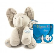 "Gund Baby Animated Flappy The Elephant Plush Toy | Flappy the Elephant stuffed toy with ""The Biggest Kiss"" Bedtime Book 