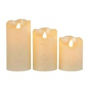 Merkloos 3x Parel witte nep kaarsen met led-lichtjes