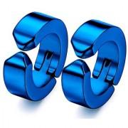 GadgetsDen Royal Blue Clip-on Press Unisex Stud Fashion non-piercing hoop earrings