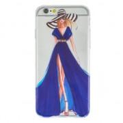 GadgetBay Coque pour fille en TPU iPhone 6 6s - Blue Stripes - Transparent