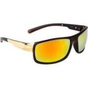 NuVew Rectangular, Wrap-around Sunglasses(Golden)