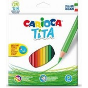 Creioane colorate CARIOCA Tita hexagonale 24 culori-cutie