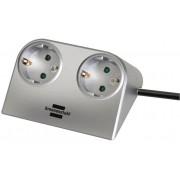 Desktop-Power 2 dugaszhelyes ezüst 1,8m H05VV-F 3G1,5
