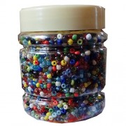 eshoppee mix multicolored color 8/0 glass beads, seed beads pot 200 gm (approx 6000 beads) for jewellery, art and craft making diy project kit (multicolor)