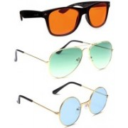 Elligator Aviator, Wayfarer, Round Sunglasses(Orange, Green, Blue)