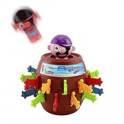 SPADORIVE Tricky Pirate Barrels Party Favor Game Sword Pirate Bucket - Pop Up Pirate Game Sword Stabbed Pirate Crisis Barrel Bucket Crisis Romance and Whimsy Toy (Brown)