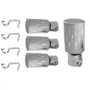 Hans Enterprise Set of 4 Stainless Steel Single Curtain Rod Bracket pack of 8 pcs