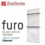 ZenSwiss furo Music Handtuchtrockner 52 x 120 cm (Glanz Weiss)
