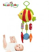 Happy Monkey Baby Stroller Crib Hanging Toy Bells Baby Rattle Toy for Bed with 3 Wind Chimes, Newborn Baby Fish Soft Plush Toy, Stroller Playing Toy, Child Bedding Rattles Bell Hanging Toy