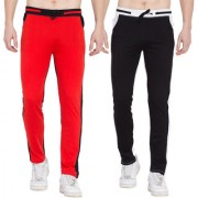 Cliths Pack of 2 Stylish Cotton Joggers For Men/ Sport lowers (Black Red Black White)