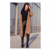 Autumn Women Fashion Casual Long Knit Sweater Long Sleeve Cardigan Coat Camel