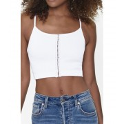 Forever21 Ribbed Hook-and-Eye Cami WHITE