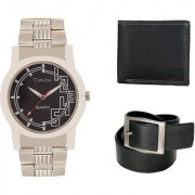 Crude Smart Combo Analog Watch-rg217 With Black Leather Belt Wallet