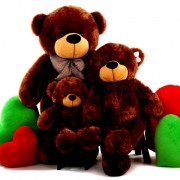 2 Feet, 3.5 Feet and 5 Feet Brown Bow Teddy Bear Family