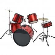 vidaXL Комплект барабани, прахово боядисан, червен, за възрастни