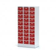 Alfa 3 Skříňka s boxy na soklu, 30 boxů, červené dveře, otočný zámek