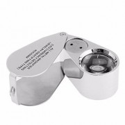 DIY Crafts 40X Full Metal Illuminated Jewellery Magnifier Aluminum-encased Jeweler's Loupe Magnifier with LED
