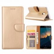 Luxe Lederen Bookcase hoesje voor de Nokia 2.1 - Goud