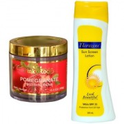 Florozone Sun Screen Lotion With SPF 25 Pink Root Pomegranate Butter Cream 100gm