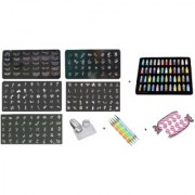Royalkart Master Nail Art Kit With 5 Image Plates 1 Silicone Stamper And Scrapper 48pcs Glitter Bottles 5pcs Double-sid