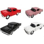 Emob Vintage Luxury Diecast Metal Car Model Auto Series With Pullback Action Openable Door Pack of 4 (Multicolor)
