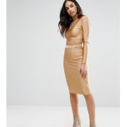 NaaNaa Midi Skirt with Cut Out Co-ord - Bronze
