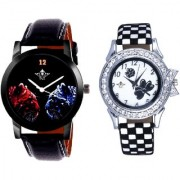 Black Dial 2 Jaguar And Black-White Flowers Couple Analogue Watch By Vivah Mart