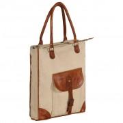 vidaXL Torba shopper, beżowa, 34,5x10x57 cm, płótno i skóra naturalna