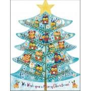 3D adventskalender A4+ - kerstboom uilen