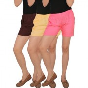 Culture the Dignity Women's Solid Rayon Shorts With Side Pockets Combo of 3 - Brown - Cream - Baby Pink - C_RSHT_B2CP2 - Pack of 3 - Free Size