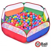HALO NATION ® Hexagonal Wonder Ball Pool ( Large Size) - 50 FREE Balls Included - Colourful Pop-Up Kids PlayTent House - Ball Pit