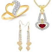 VK Jewels Gold and Rhodium Plated Alloy Earrings & Ring & Pendant Combo Set for Women & Girls made with Cubic Zirconia - COMBO1500G [VKCOMBO1500G8]