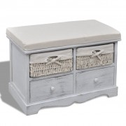 vidaXL White Wooden Storage Bench 2 Weaving Baskets Drawers