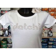 Datch T-shirt maglia donna Datch in cotone con logo in strass argento
