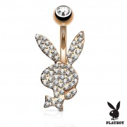 Piercing Street Piercing nombril Playboy plaqué or rose cristaux blancs