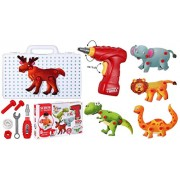 Toys Bhoomi 120 Pieces 3D Puzzles Take Apart Building Blocks Animal STEM Toys for Kids with Drill Tools , Screws , Dinosaurs , Elephant , Bear , Elk , Crocodile , Lion , Zebra