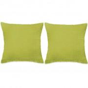 vidaXL Conjunto de 2 almofadas em veludo 45x45 cm verde